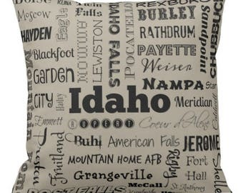 Idaho pillow - ID typography throw pillow - gray/taupe or yellow decorative pillow - Idaho cushion - home decor - gift