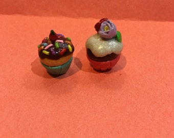 Chocolate cupcake with flowers or vanilla cupcake with sprinkles