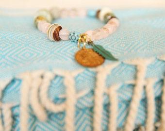 Gemstone Bracelet, Beaded Bracelet, Stacking Bracelet, Elastic Bracelet, Womens Bead Bracelet, Gemstone Jewelry, Pink Bracelet