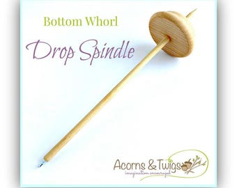 Wool Spinning Spindle, Waldorf Drop Spindle, Bottom Whorl Drop Spindle, A Traditional Handcraft Tool for Yarn Spinning, Small Wooden Spindle