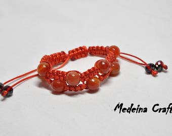 Red Braided Double Row Bracelet with Agate Stone Beads