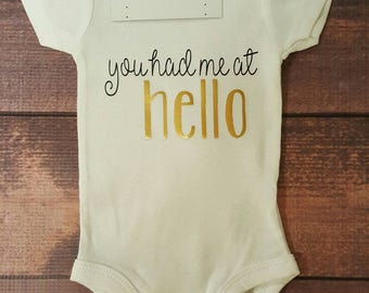 Newborn Baby Clothes, You Had Me At Hello Bodysuit