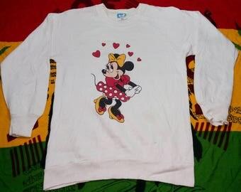 Vintage 1980s Sweet Minnie Mouse Love White Sweatshirt Long Sleeve Made in USA Raglan Design