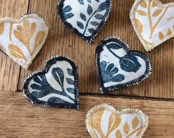 Floral heart brooches, handmade brooch, hand printed fabric, handmade gift, felt brooch, textile brooches, handmade jewellery, small gifts