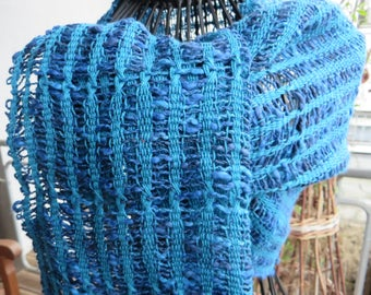 handwoven scarf, shawl, stola, made of cottolin, leno-lace