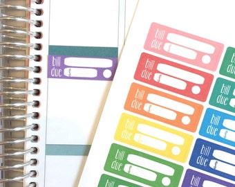 Bill Due Box Planner Stickers // Box Planner Stickers // Pay Bills // Erin Condren Planner Stickers