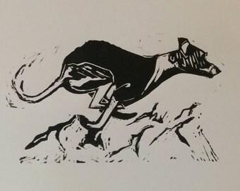 Whippet linocut print