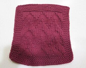 knitted burgundy wash cloth