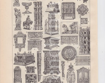 1922 french vintage original print of French Art & Architecture Low relief sculptures to frame or scrapbooking A4 signed