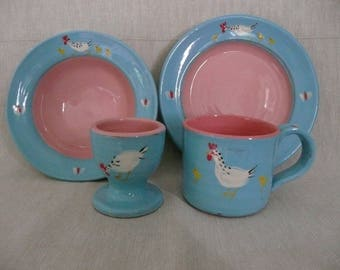 Nursery set Childs breakfast set Handmade and painted pottery Ideal Christening gift Can be personalised