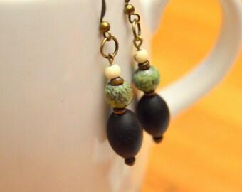 Bohemian Earthy Beaded Dangle Earrings (Black, Brown, Green, White)