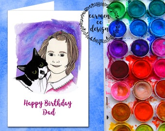 Custom Card (birthday, occasional, seasonal), Personalised Occasional Card, Custom Illustrated Portrait Card, Hand Drawn Card, Cards