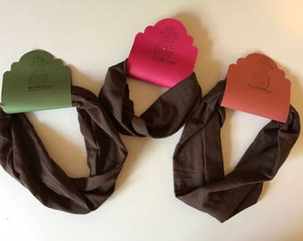 Stretchy brown fabric headband in wide, turban, and regular great for yoga workout fitness