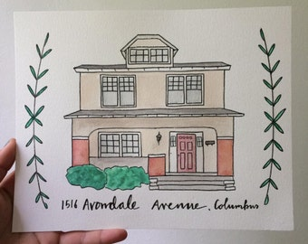 8x10 Watercolor House (Custom)