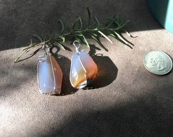 Beautiful Chalcedony wire wrapped pendants