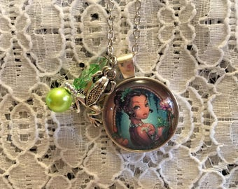 Princess and the Frog Charm Necklace/Tiana Charm Necklace/Tiana Jewelry/Princess and Frog Jewelry/Tatoo Tiana Necklace/Tiana Charm Jewelry