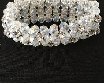 Beautiful 4 rows of Clear Beads with Diamond Accents Bracelet