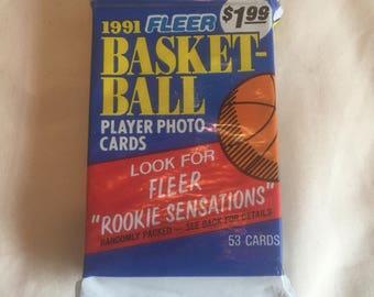 Vintage 1991 Fleer Basketball Cards Unopened 53 Cards