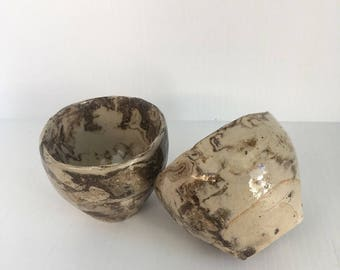 Set of 2 small earthy marble dark stoneware ceramic cups