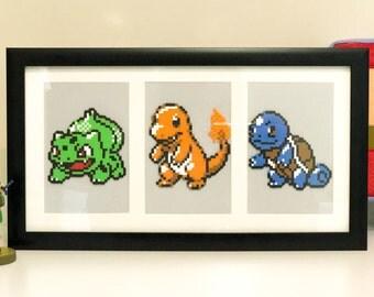 Pokemon Starter framed pixel art