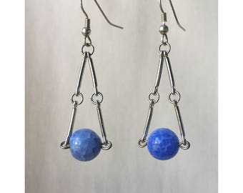 Blue Metal Dangle Earrings