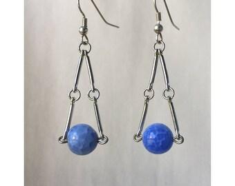 Blue Metal Dangle Earrings