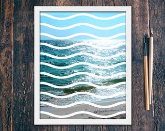 Modern Waves Print, Modern Beach Print, Contemporary Modern Decor PRINTABLE, Beach Art Prints, Modern Tropical Geometric Photo (#16195)