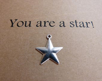 You are a star card. Thank you card. Appreciation card. Thinking of you card. Love card. Card for a friend. Friendship card. Silver star.