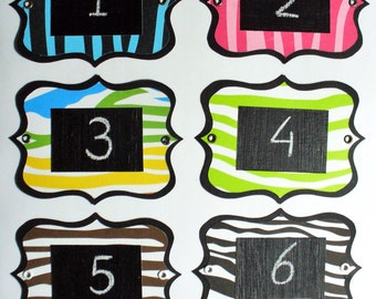 Zebra Chalkboard Labels - multi-use, colourful and re-usable with metal eyelets. Set of 6