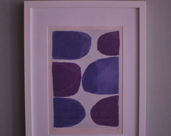 Heather - Abstract purples hand pulled screen print.  Hand drawn, 50s inspired and printed by Jon Mackay.
