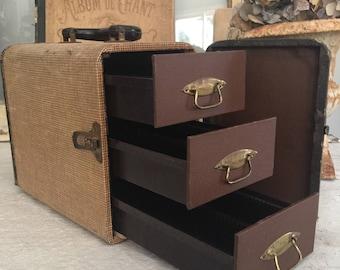 Vintage Slide Carrying Case with 3 Drawers // Barnett &Jaffe Baja // Storage case