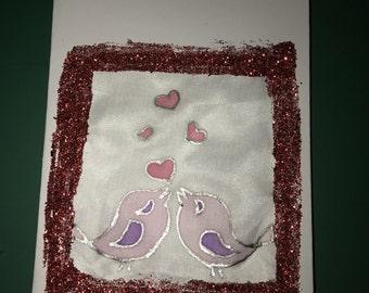 Hand painted silk love birds card