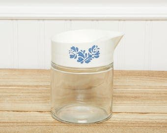 Retro Diner Style GEMCO Creamer- Syrup Server-Coffee-Blue Flower Matching Corelle Design - Gemco Glass and Plastic with Blue Flower Pattern