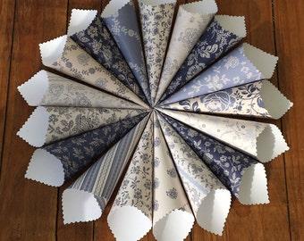 Confetti Cones, Wedding Petal Cones, Paper Cones, Petal Cones, Petal Holder, Flower Petal Holder, Cones for Confetti - Parisienne Blue
