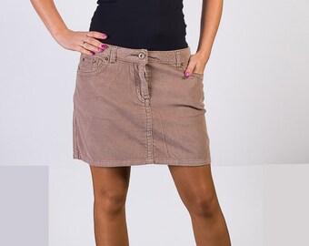 Light brown skirt, Corduroy skirt, 90s Vintage skirt, Mini skirt, low waist skirt, Pencil skirt,Size 14