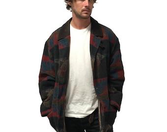 Vintage Aztec Patterned Wool Jacket Size XL