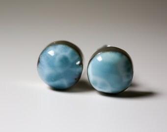 Larimar Turquoise Stud Earrings, Large Round Natural Carved Pectolite Semi Precious