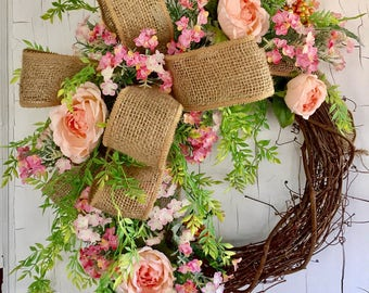 Spring Wreath - Door Wreath - Farmhouse Wreath - Summer Wreath - Front Door Wreaths - Spring Door Wreath - Floral Door Wreath