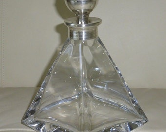 Mid Century Carlo Masini Sterling & Crystal Diamond Shape Decanter, Italy