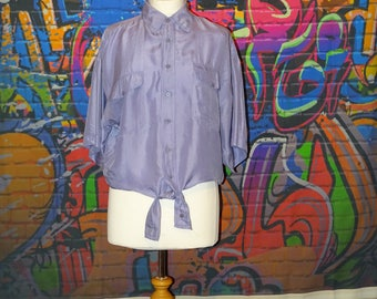 Unusual 90's purple oversized shirt - reworked and made into tie-top, crop top, knotted top