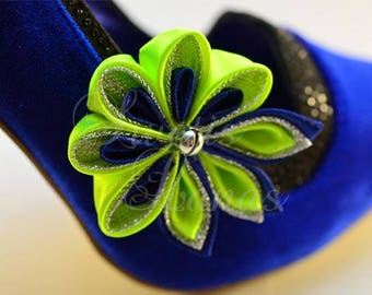 Shoe clips bells shoe clip, set of 2, satin flower bells, shoe clips and shoe clip Bridal, shoe clips, shoe clips, shoe clip, kanzashi