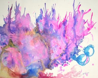 Pink Mundi original watercolor painting