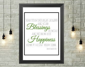 Irish Blessing Quote Printable 8x10, Instant Download