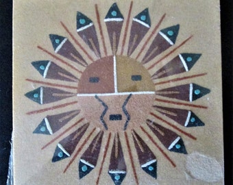 1970s Navajo Southwestern Native American Sand Painting Block Art The Sun 5 15/16 in x 6 in Vintage