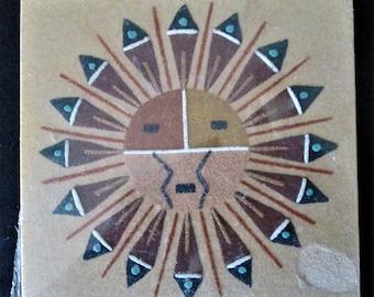 "Vintage Navajo Southwestern Native American Sand Painting Block Art 5-15/16"" x 6"""