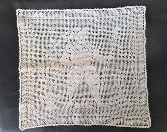 """Handmade Lace Original Vintage Square Doily 16"""" x 17"""". Large Figure with Staff"""