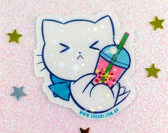 Bubble Kittea Pink Angry bubble tea kitty holographic stickers white film water resistant