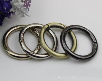 6 pcs inner 32 mm gold Silver gun black Circular spring ring clasp round split key ring O rings D rings DIY bag  handabag purse hardware