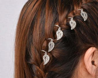 5 Feather Hair Rings Set - Hair Accessories - Festival Hair Accessories - Hair Rings - Hair Jewelry