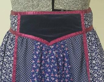 1970's Dark Blue Floral Print Velvet Panel Gunne Sax Maxi Skirt